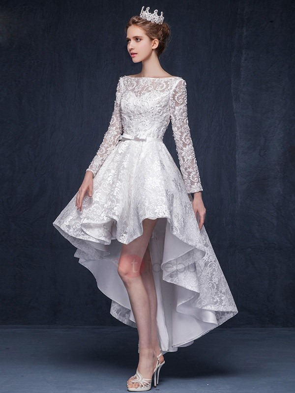 Fancy Bateau Neck Beading Bowknot High Low Lace Prom Dress ...
