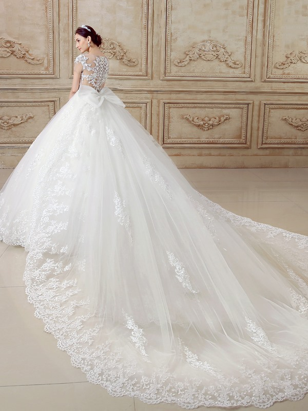 Illusion Back Short Sleeve Ball Gown Cathedral Wedding Dress ...