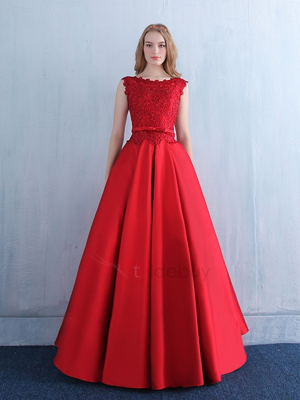 Fancy Straps Bowknot Red Lace Evening Dress