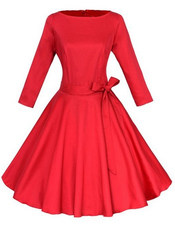 Solid Color Lace-Up Bowknot Womens Skater Dress