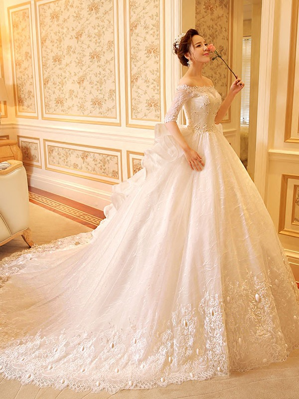 Half Sleeve Sequins Lace Ball Gown Wedding Dress