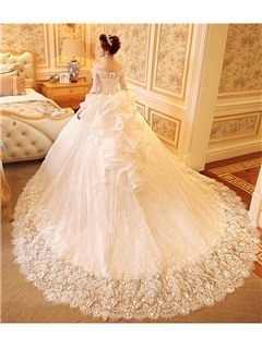Off the Shoulder Half Sleeve Ball Gown Appliques Beading Wedding Dress