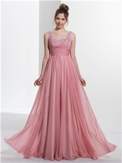 Pretty Straps Empire Waist Beading Long Prom Dress