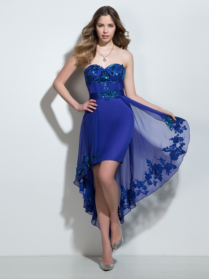 Chic Sweetheart Sequins Column High Low Cocktail Dress