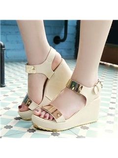 PU Sequins Open-Toe Wedge Sandals