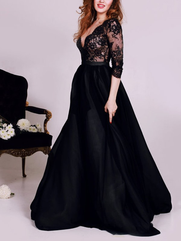 Deep V-Neck 3/4 Length Sleeves Lace Evening Dress