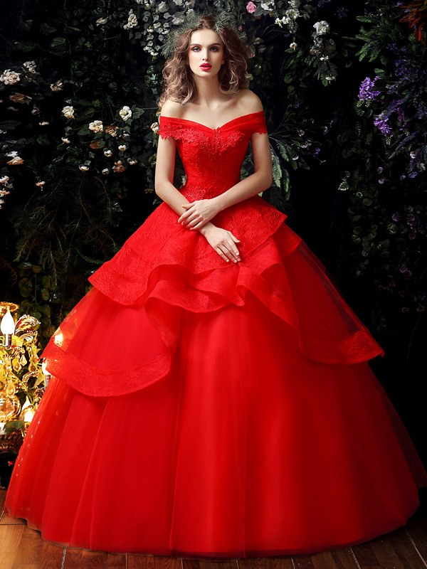 Lace Tiered Ruffles Ball Gown Red Wedding Dress