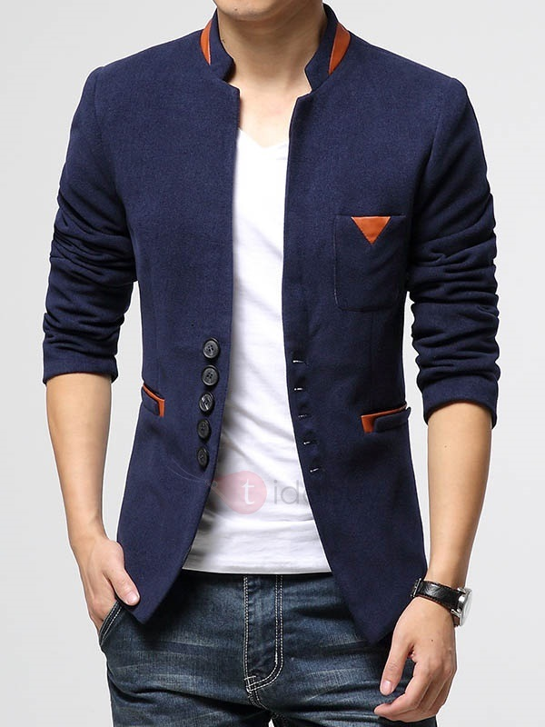 Peaked Lapel Slim Fit Single-Breasted Men's Blazer