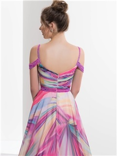 Amazing Straps Beading Printed Prom Dress