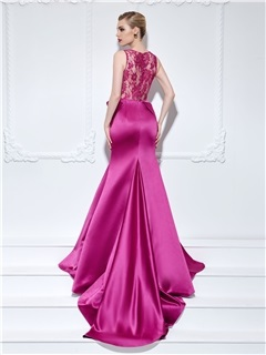 Courtlike Straps Button Lace Back Mermaid Evening Dress