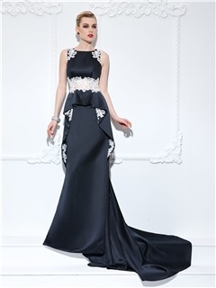 Elegant Straps Appliques Ruffles Long Black Evening Dress