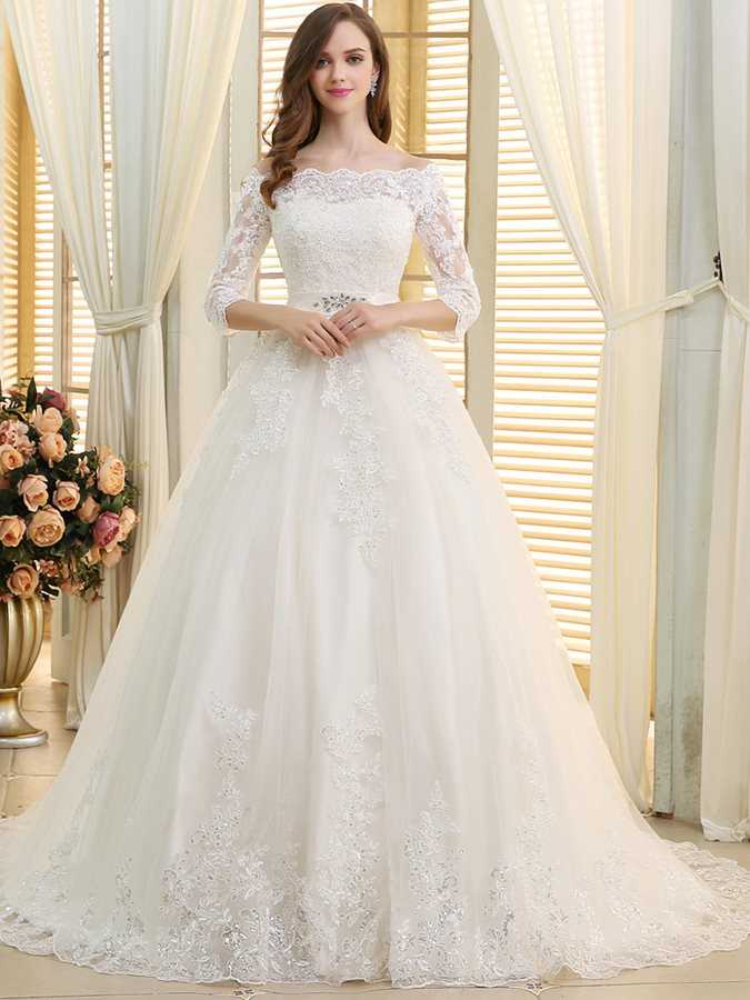 Off the Shoulder Beading Lace Wedding Dress with Sleeves