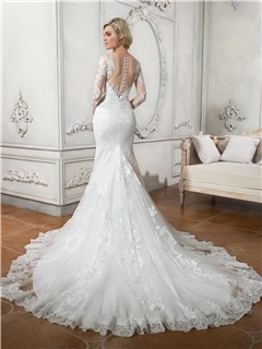 Illusion Neck Appliques Lace Button Mermaid Wedding Dress