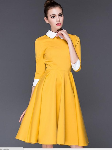 16e2e69ccb4 Peter Pan Collar 3 4 Sleeve Women s Skater Dress   Tidebuy.com