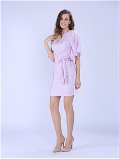 Plain Ruffle Sleeve Belt Day Dress