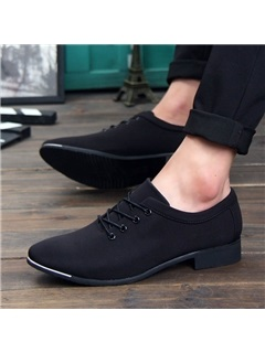 Solid Color Canvas Square Heel Casual Shoes