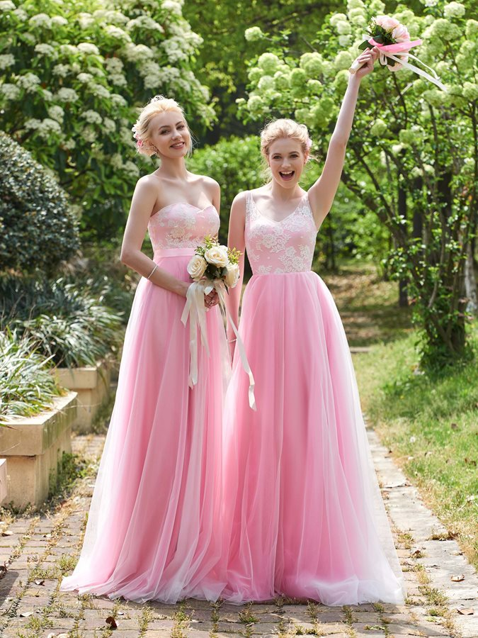 High Quality V Neck Long Lace Bridesmaid Dress