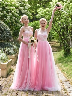 High Quality V Neck Long Lace Bridesmaid Dress 3