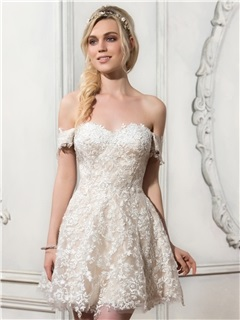 Stylish Off the Shoulder Appliques Asymmetry Watteau Train Wedding Dress