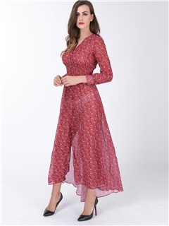 Floral Print V-Neck Split Women's Maxi Dress