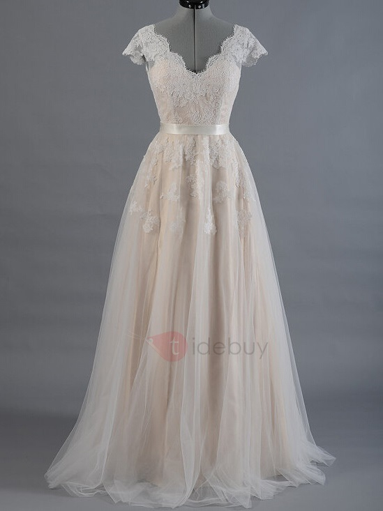 Image of Cap Sleeve Lace Appliques Beach Wedding Dress
