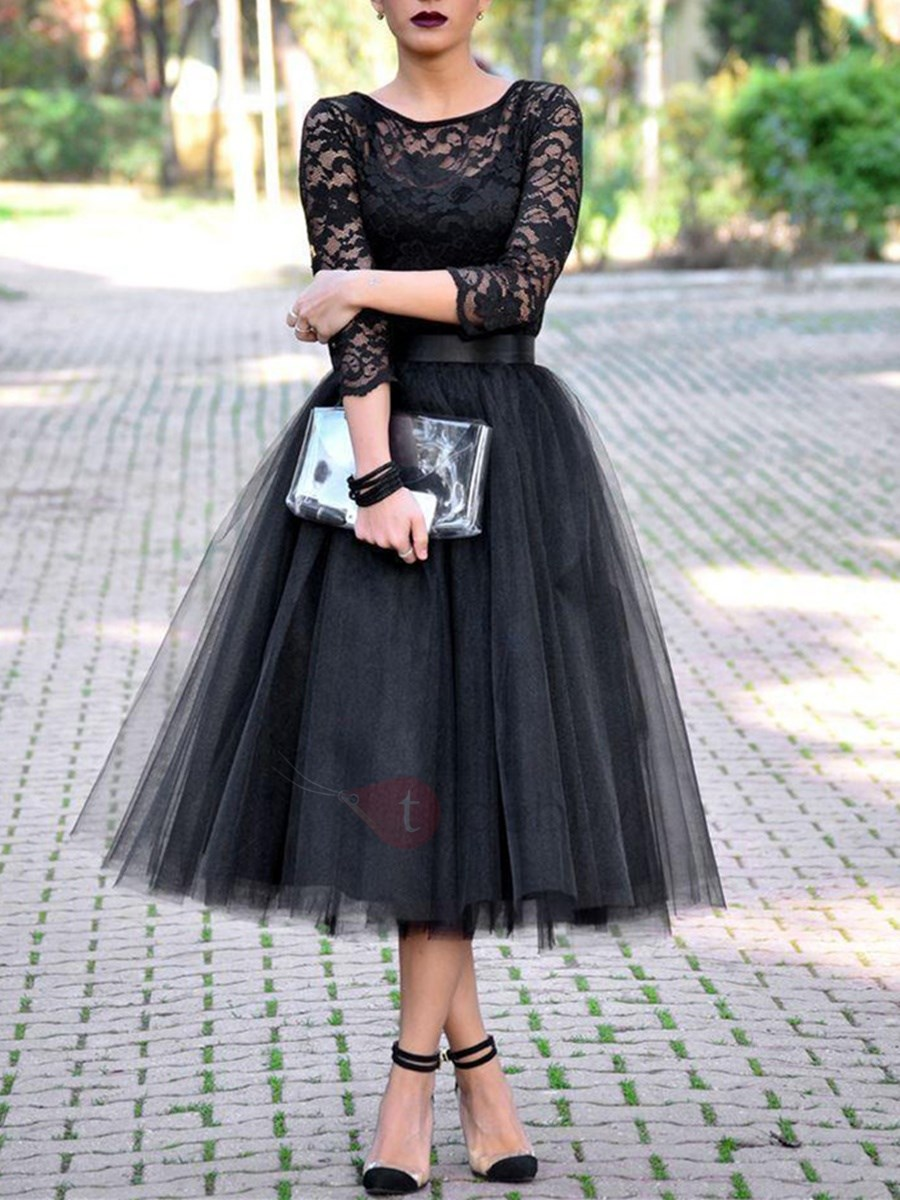 vintage 34 length sleeves tealength lace evening dress