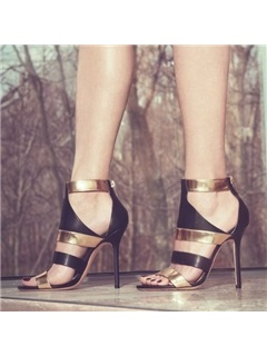 Metallic Cut-Out Stiletto Heel Sandals