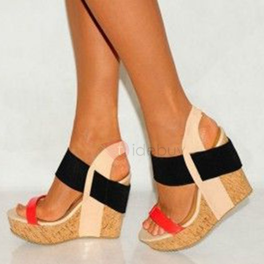 Color Block Open-Toe Wedge Sandals