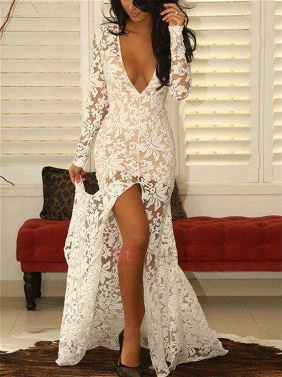 Deep V-Neck Long Sleeves Split-Front Sheath Lace Evening Dress