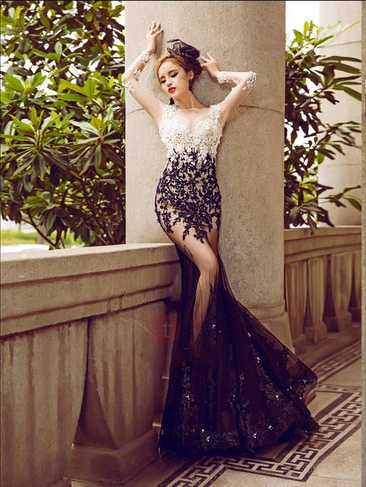 Sexy Illusion Neck Long Sleeve Appliques Mermaid Evening Dress
