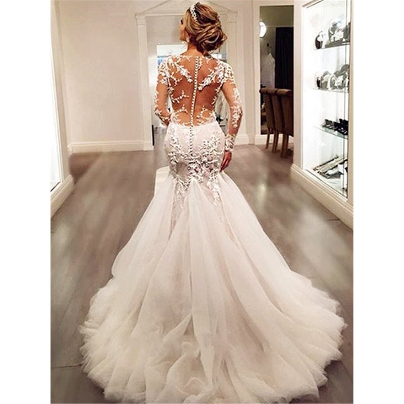 Button Appliques Mermaid Wedding Dress with Long Sleeve