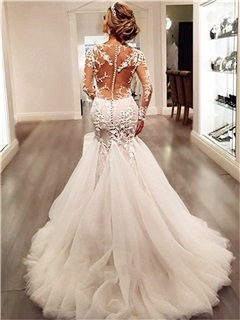 Button Appliques Mermaid Wedding Dress with Long Sleeve 48