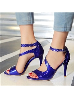 Purfle PU Peep-Toe Stiletto Heel Sandals