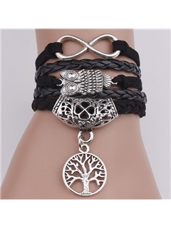 Vintage Owl & Life Tree Decorated Infinity Bracelet