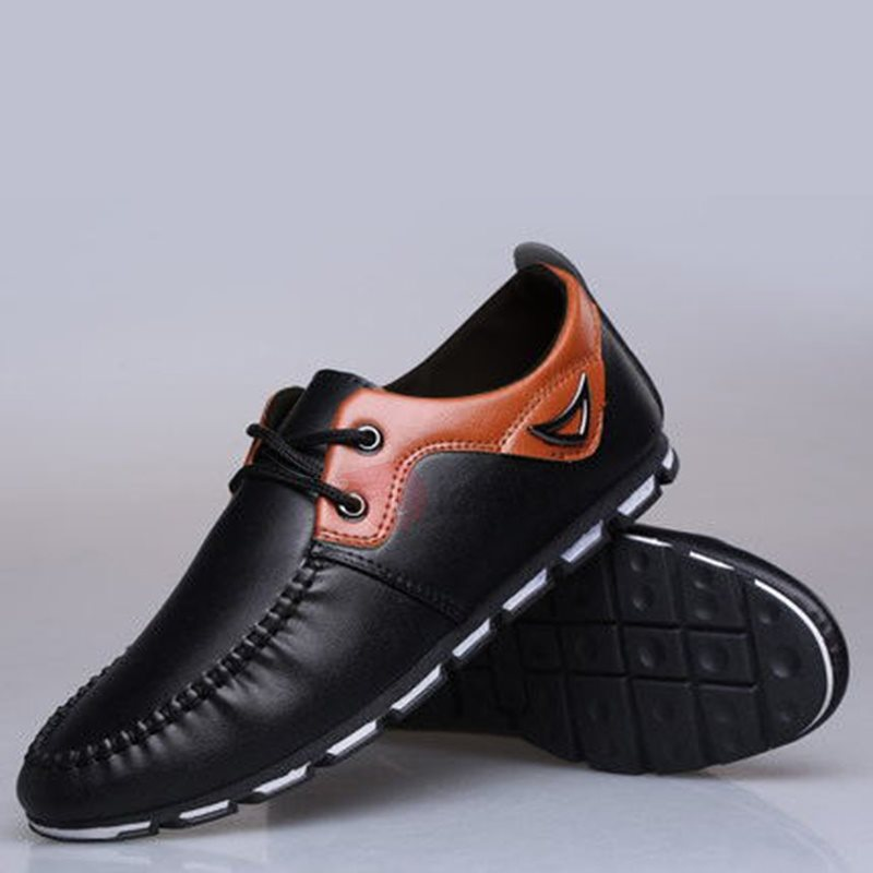 PU Color Block Round Toe Lace-Up Men's Fashion Sneakers
