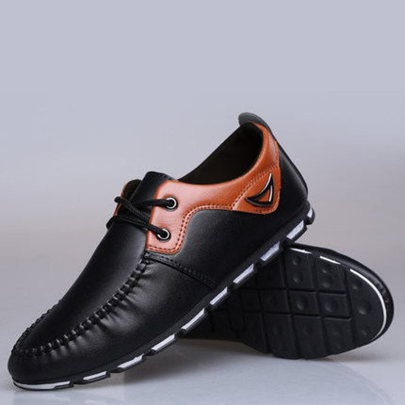 PU Color Block Round Toe Lace-Up Mens Fashion Sneakers