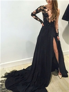 Sexy Long Sleeves Appliques Black Evening Dress 34