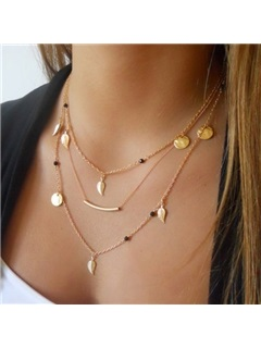 Sequins and Leaves Women Gold Layered Necklace 21
