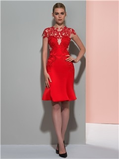 Modern Jewel Neck Short Sleeves Appliques Cocktail Dress