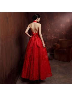 Charming Halter Beading Lace Backless Evening Dress