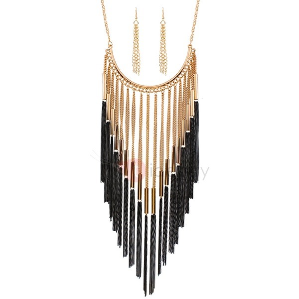 European Alloy Tassels Necklace and Earrings