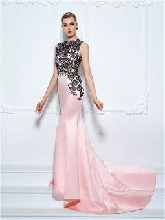 Jewel Neck Court Train Lace Trumpet Evening Dress