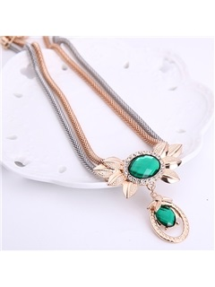 Gold Plated Green Crystal Jewelry Set