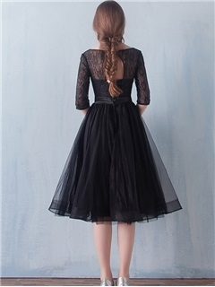 Half Sleeves Knee-Length Black Lace Cocktail Dress