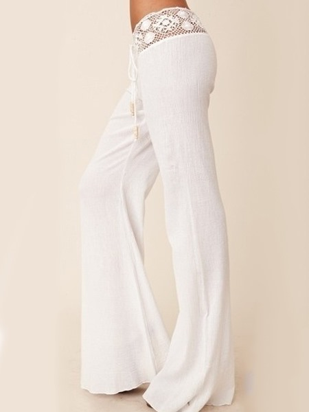 a58549f2fc White Lace Patchwork Palazzo Beach Pants : Tidebuy.com