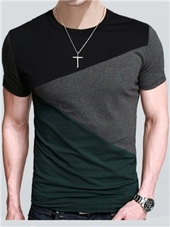 Color Block Men's Crewneck Tee