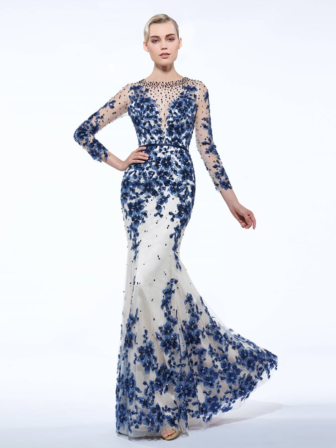 Gorgeous Sheer Neck Sequins Appliques Beading Sheath Evening Dress