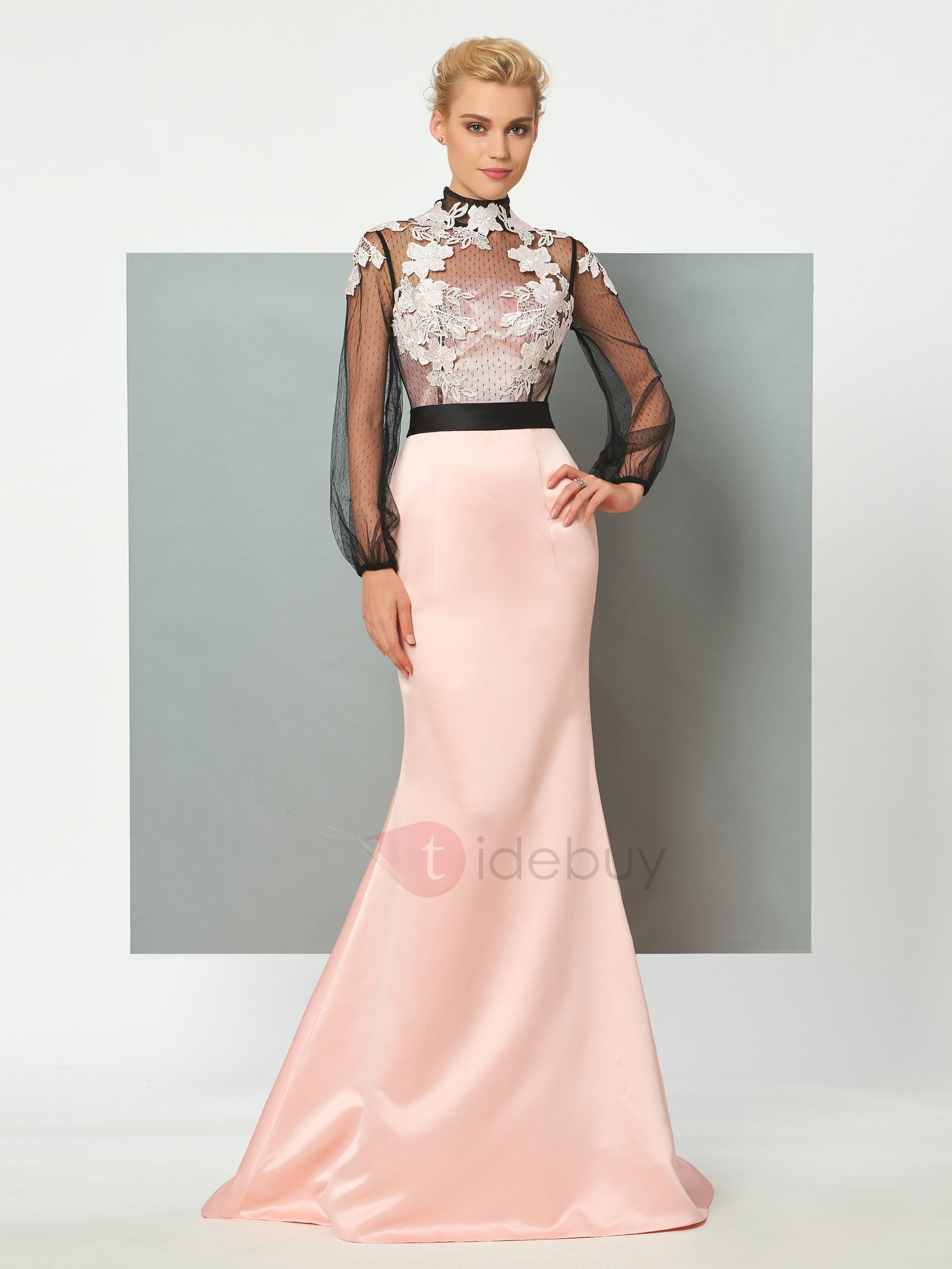 Exquisite High Neck Mermaid Appliques Long Sleeves Sweep Train Evening Dress