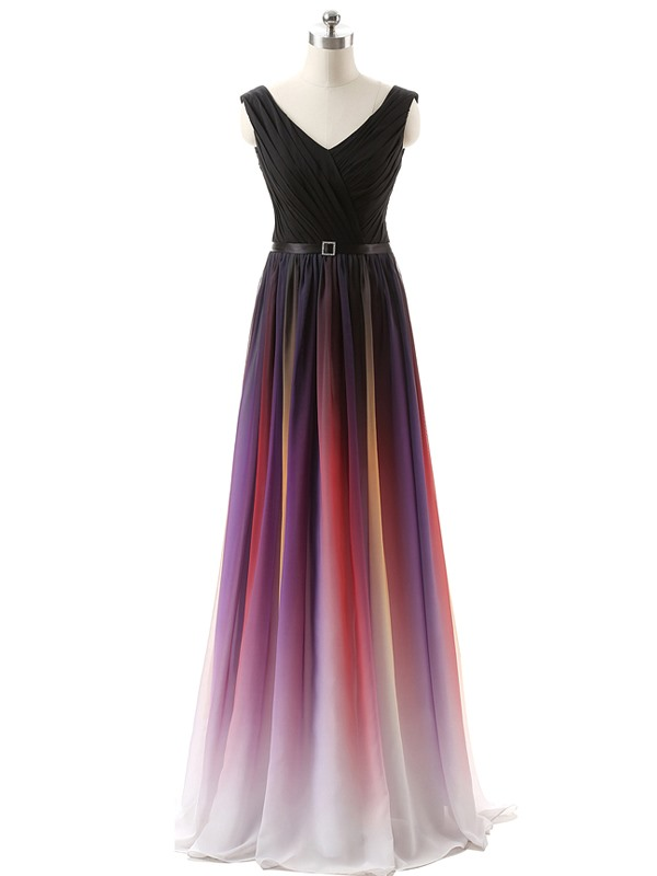 Beautiful V Neck A Line Fading Color Long Bridesmaid Dress