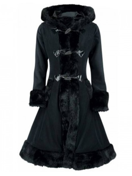 Hooded Long Fur Lace Up Womens Overcoat